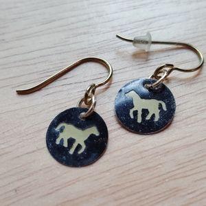 Horse cutout metal earrings